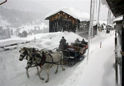 Horse drawn sleigh in Austria